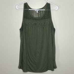 Sonoma heather green knit lace tank Large